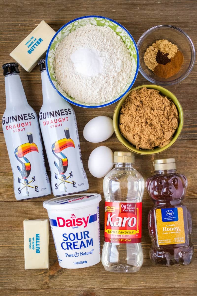 ingredients to make Guinness gingerbread