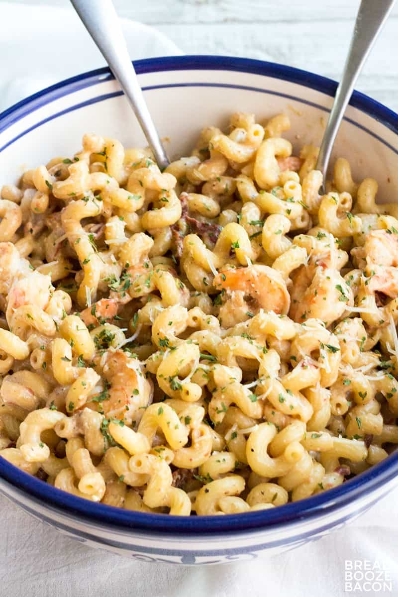 Balsamic Shrimp & Sun-Dried Tomato Pasta is a flavorful 15-minute dinner you'll crave! A dangerously delicious combination or the best idea ever?!