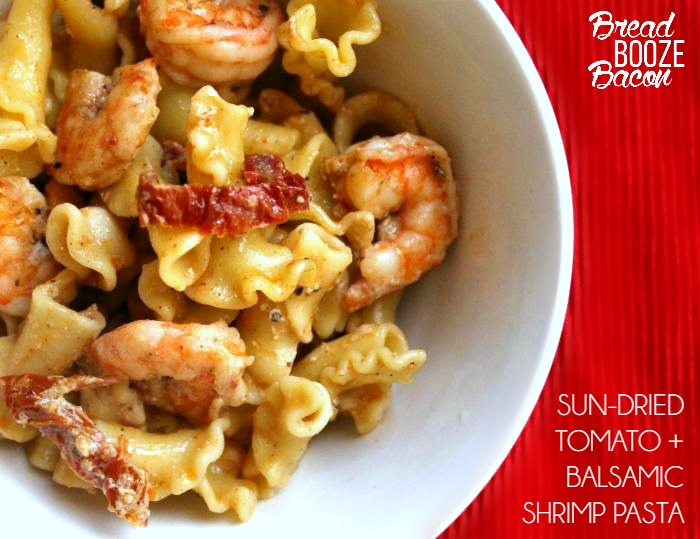 Sun-Dried Tomato + Balsamic Shrimp Pasta is one of my biggest food obsessions. I dream about it and my mouth waters at the very thought of it!