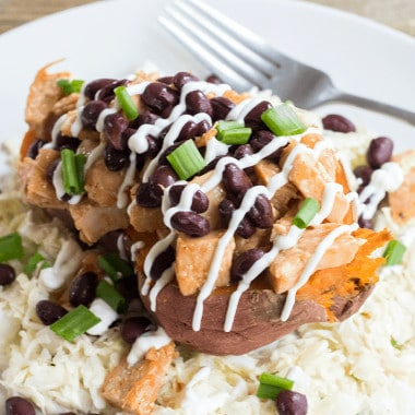 BBQ Chicken Stuffed Yams with Coleslaw is a healthy weeknight dinner that's loaded with flavor and is asure-fire crowd pleaser!