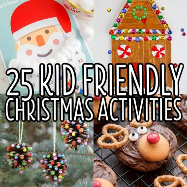 square collage of kids christmas activities with text