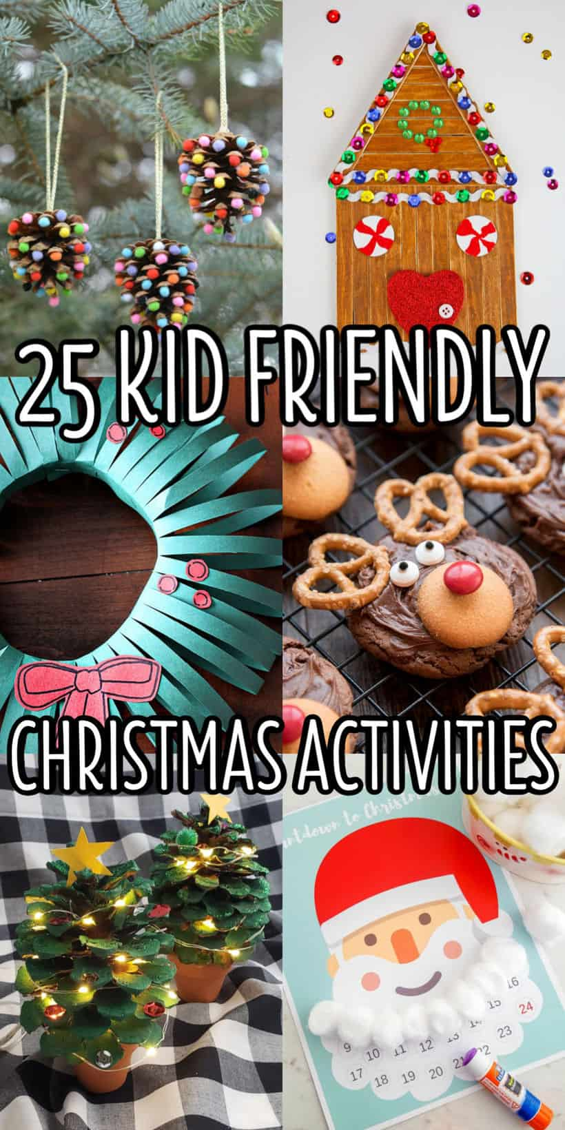 vertical collage of kids christmas activities with text