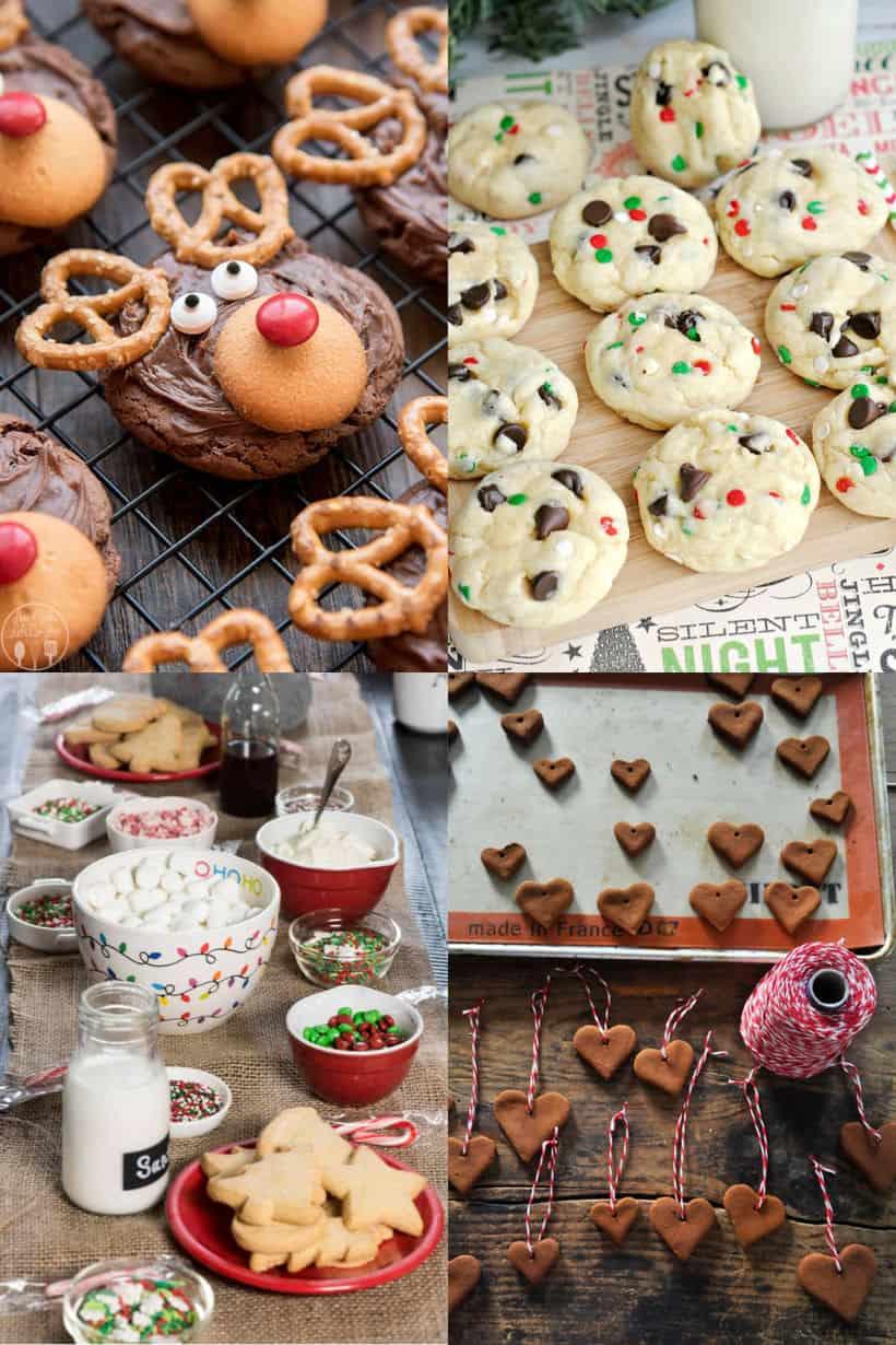 reindeer cookies, cake mix santa cookies, cookie decorating party supplies, cinnamon applesauce ornaments