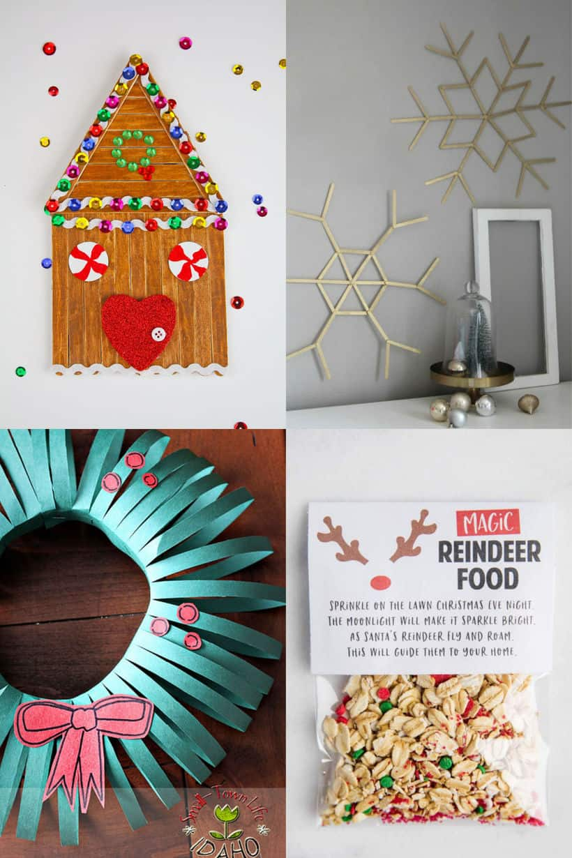 gingerbread popsicle house, giant popsicle stick snowflakes, construction paper wreath, reindeer food with printable bag topper