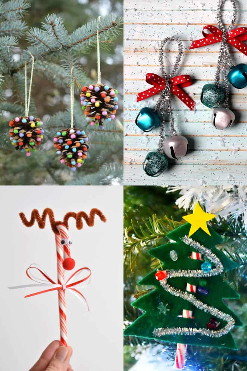pom poms and pinecones ornaments, jingle bell ornaments using silver pipe cleaners, candy cane turned into a reindeer, felchristmas tree with candy cane trunk