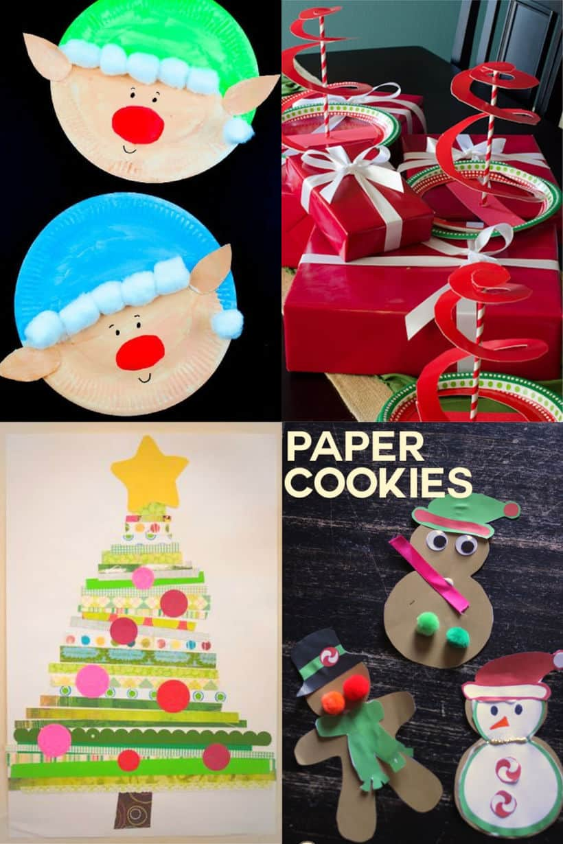 paper plate elves, spiral paper plate trees, paper strips stcked into a christmas tree on a sheet of paper, paper cookie prinables cut out and decorated with ribbon and pom poms