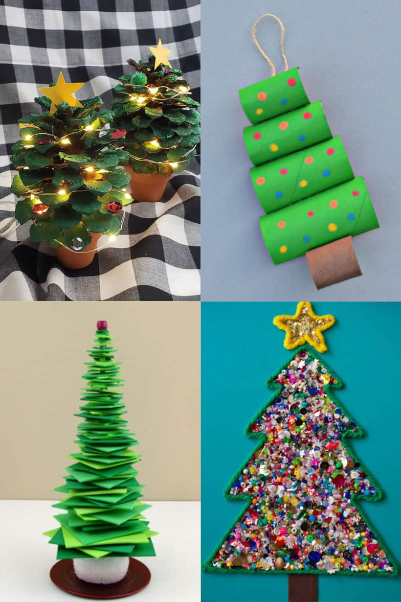 painted pinecones decorated with sequins and lights in a mini pot to look like a christmas tree, toilet paper rolls painted and stacked up to look like a christmas tree, green foam squares stacked up to make a tree, yarn christmas tree outline filled in with buttons and sequins