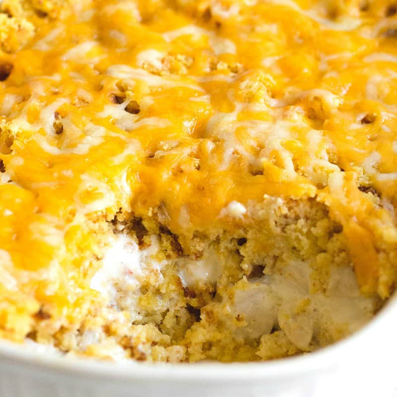 Chicken & Cornbread Casserole is one of those dishes that just screams comfort food! Every time I eat it, I'm transported back to my grandma's kitchen!
