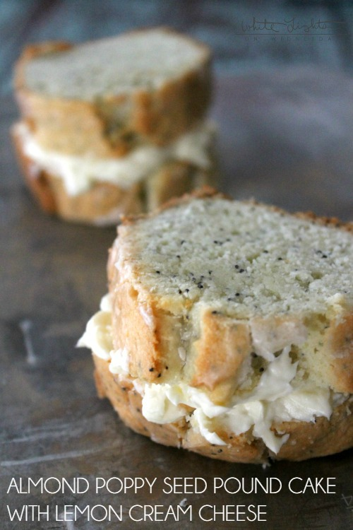 This Almond-Poppy Seed Pound Cake with Lemon Cream Cheese a dessert sandwich to die for!