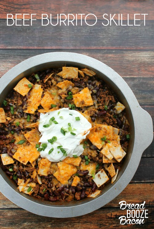 Satisfy your burrito cravings with an easy to make Beef Burrito Skillet. Cook it on the grill for a tailgating friendly dish, or on your stove at home!