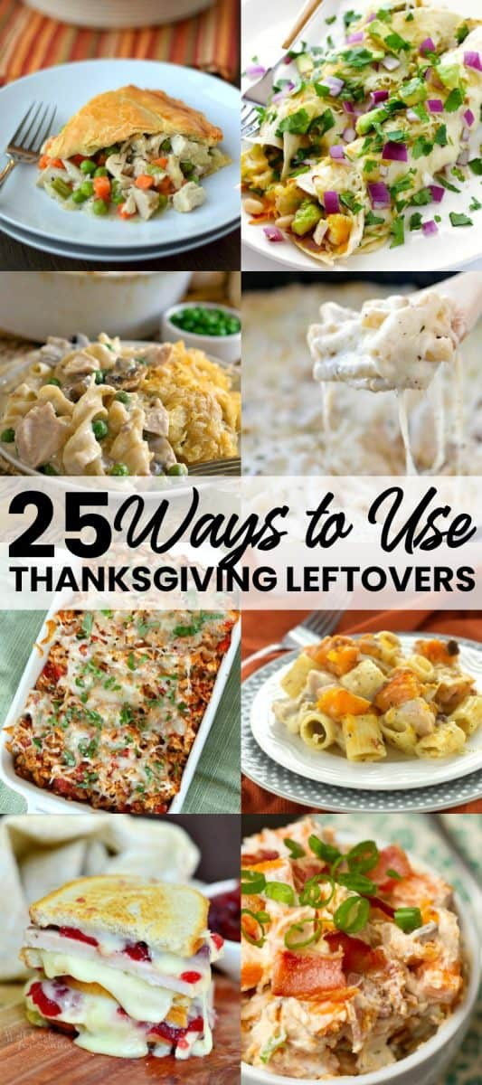 vertical collage or recipes using thanksgiving leftovers