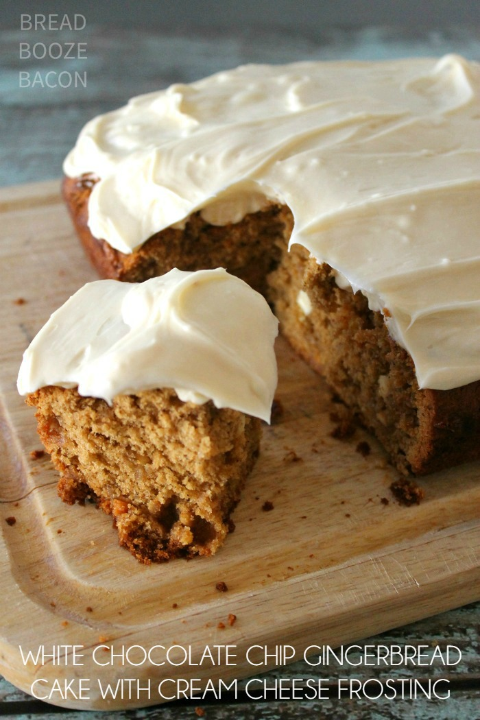 White Chocolate Chip Gingerbread with Cream Cheese Frosting is a holiday treat no one can resist!