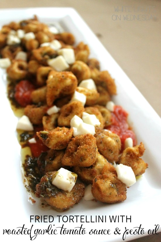 Fried Tortellini with Roasted Garlic Tomato Sauce & Pesto Oil | Bread Booze Bacon