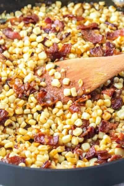 What do you get when you cook up bacon, onion, corn, maple syrup, and whiskey? The best side dish around! Southern Fried Corn is my husband's favorite!