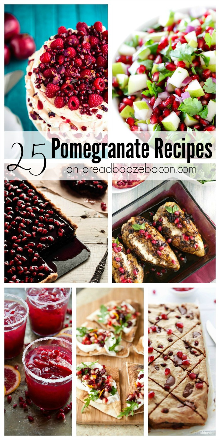 I'm giving a nod to the color scheme of the month with 25 Pomegranate Recipes that are sure to blow your mind!  A little red, a little pink, a lot of pomegranate!