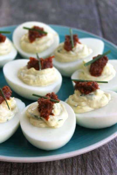 Spinach + Sun Dried Tomato Deviled Eggs