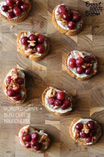 Roasted Grape & Bleu Cheese Bruschetta | Bread Booze Bacon