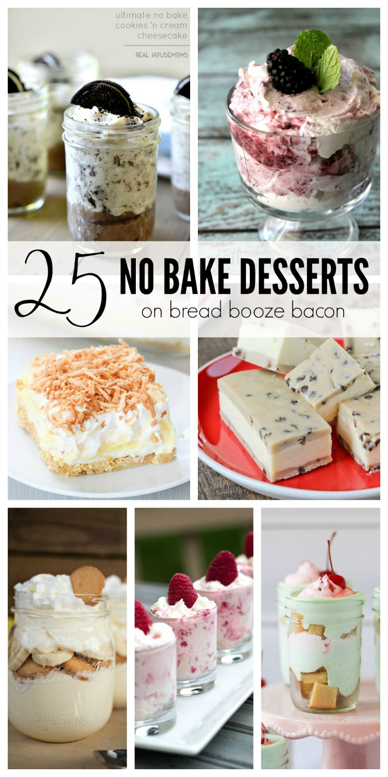 I love desserts of all shapes, types & flavors, but during the summer it gets WAY too hot to turn on the oven unless I absolutely have to.  Yet fear not!  We've put together 25 No Bake Desserts to beat the heat and satisfy your sweet tooth!