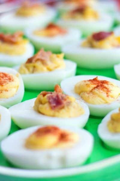 Bacon + Roasted Garlic Deviled Eggs