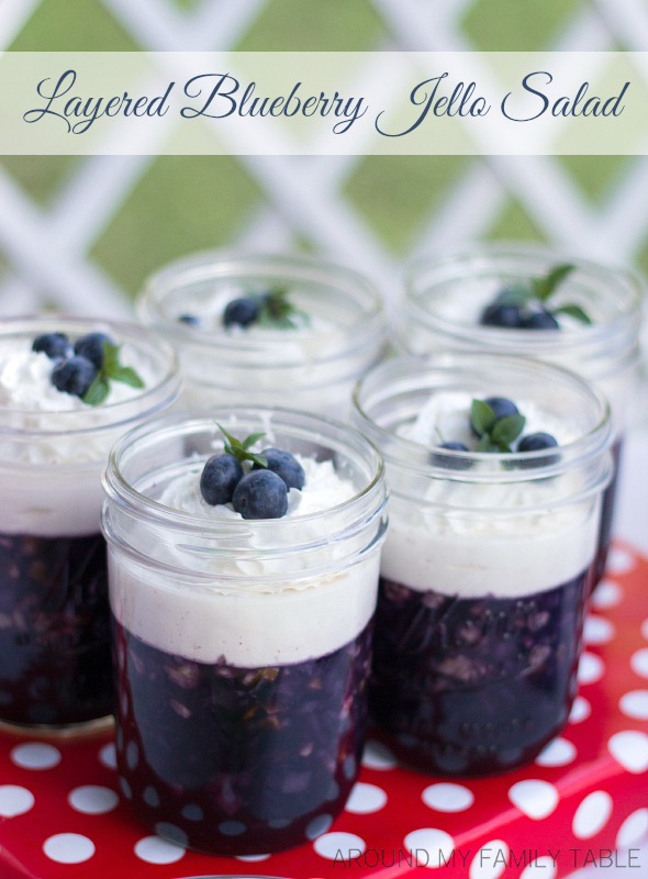 Layered Blueberry Jello Salad | Around My Family Table
