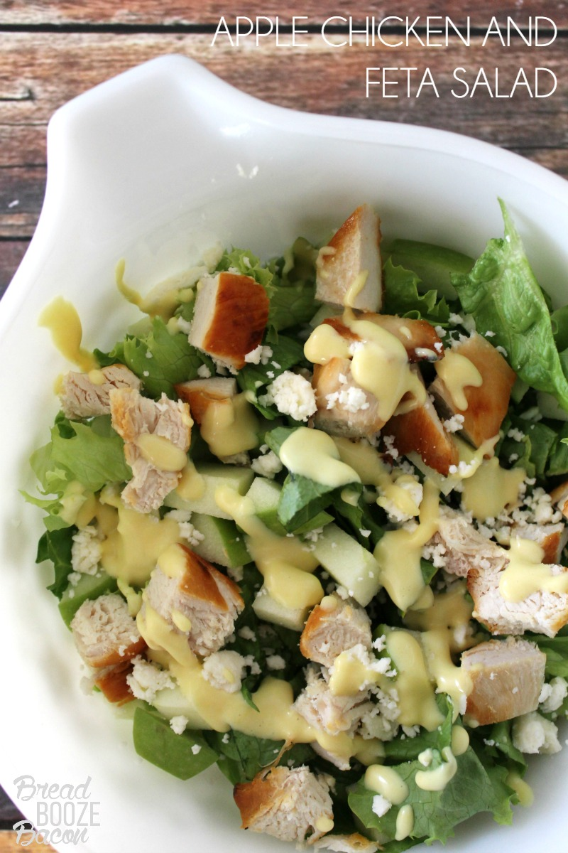 Apple Chicken and Feta Salad is a homemade version of one of my favorite salads to order when we go out! #12Bloggers