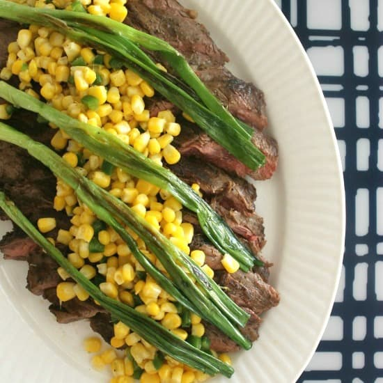 Flank Steak with Wilted Scallions + Corn Salsa