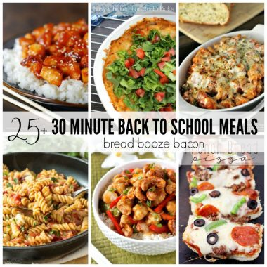 "My oldest went back to school last week, and if you're like me shuffling everyone around, doing homework, and getting dinner on the table isn't always to easiest task during the week. But you don't have to dread the nightly ""What's for Dinner?"" question with these 25+ 30 Minute Back to School Meals!"