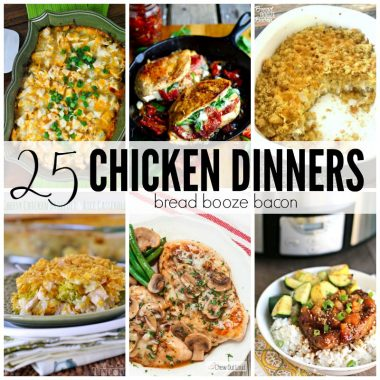 Chicken is my go to dinner protein, but finding new and delicious ways to have it for dinner can become mind numbing! Get some inspiration and save your sanity with these 25 Chicken Dinners!