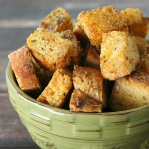 Garlic Parmesan Croutons | Bread Booze Bacon