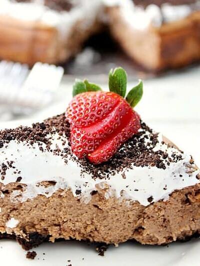 Oreo Chocolate Irish Cream Cheesecake with Irish Cream Whipped Cream