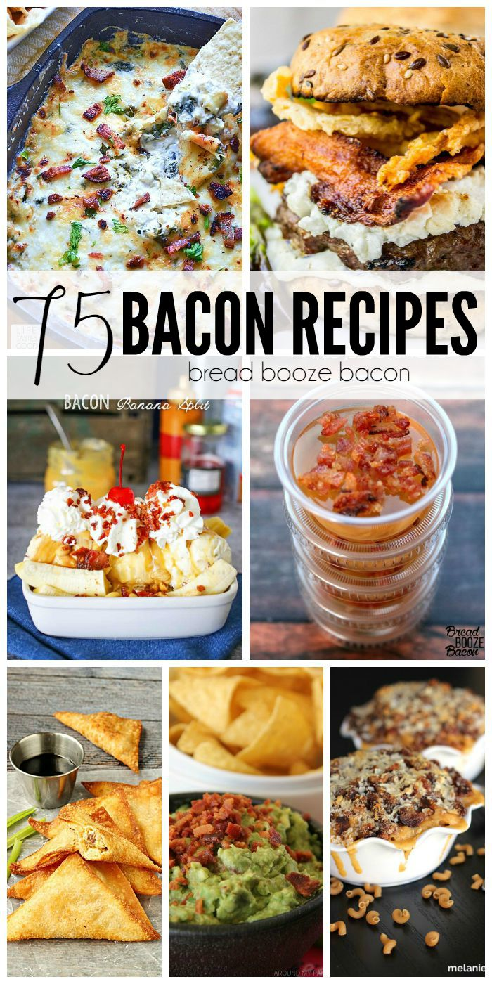 Get your drool on with me and all the other bacon freaks and these 75 Bacon Recipes!  It's the end of Bacon Month and I can't think of a better way to celebrate than finding new and delicious ways to add more bacon into every meal!