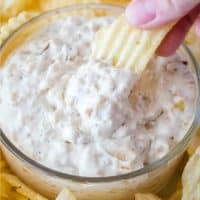 Skip the store-bought stuff and make your own French Onion Dip at home! It's easy to whip up a batch and SO ridiculously good!