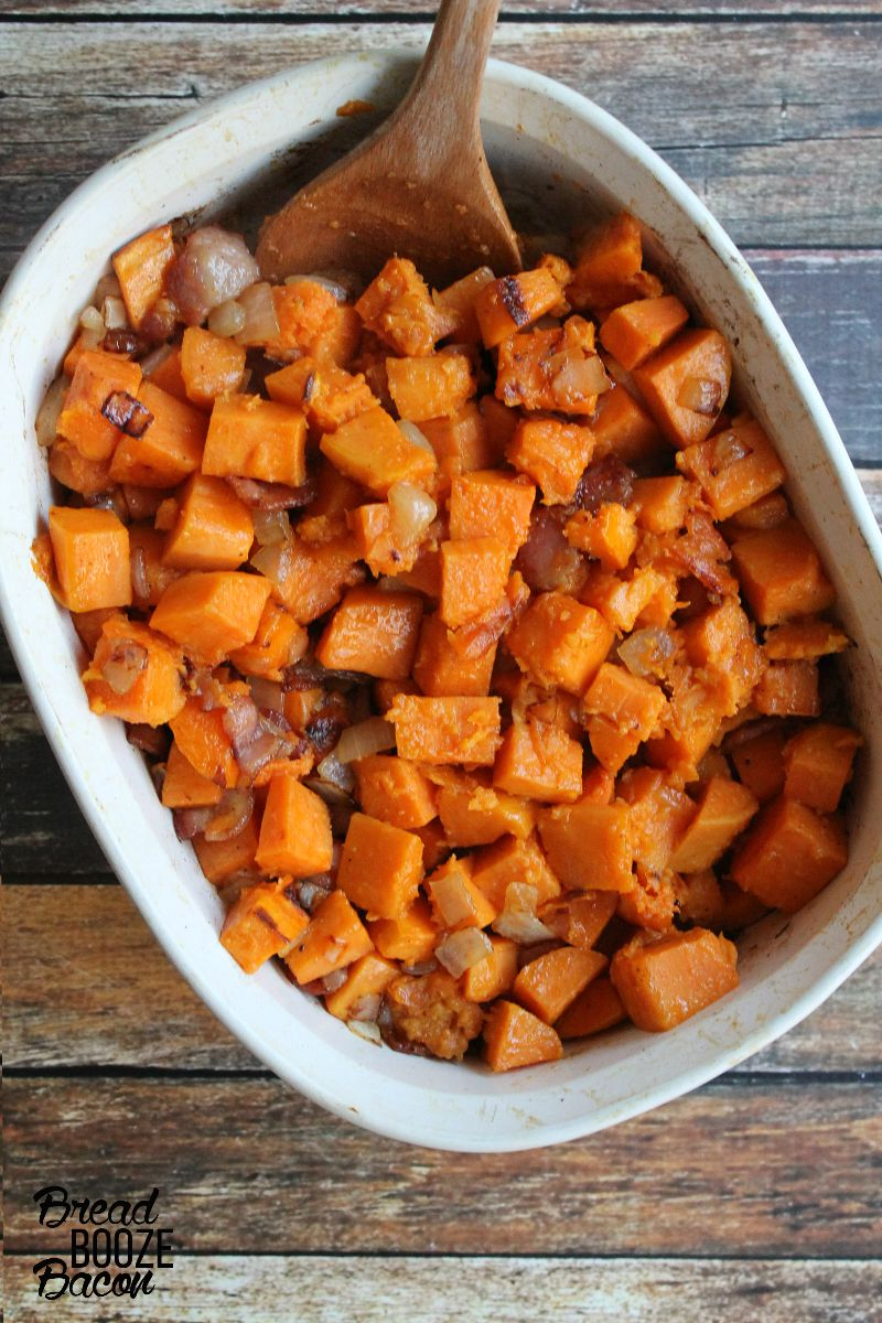 Maple Glazed Sweet Potatoes with Bacon are a salty, sweet fall side you'll want to serve with everything!