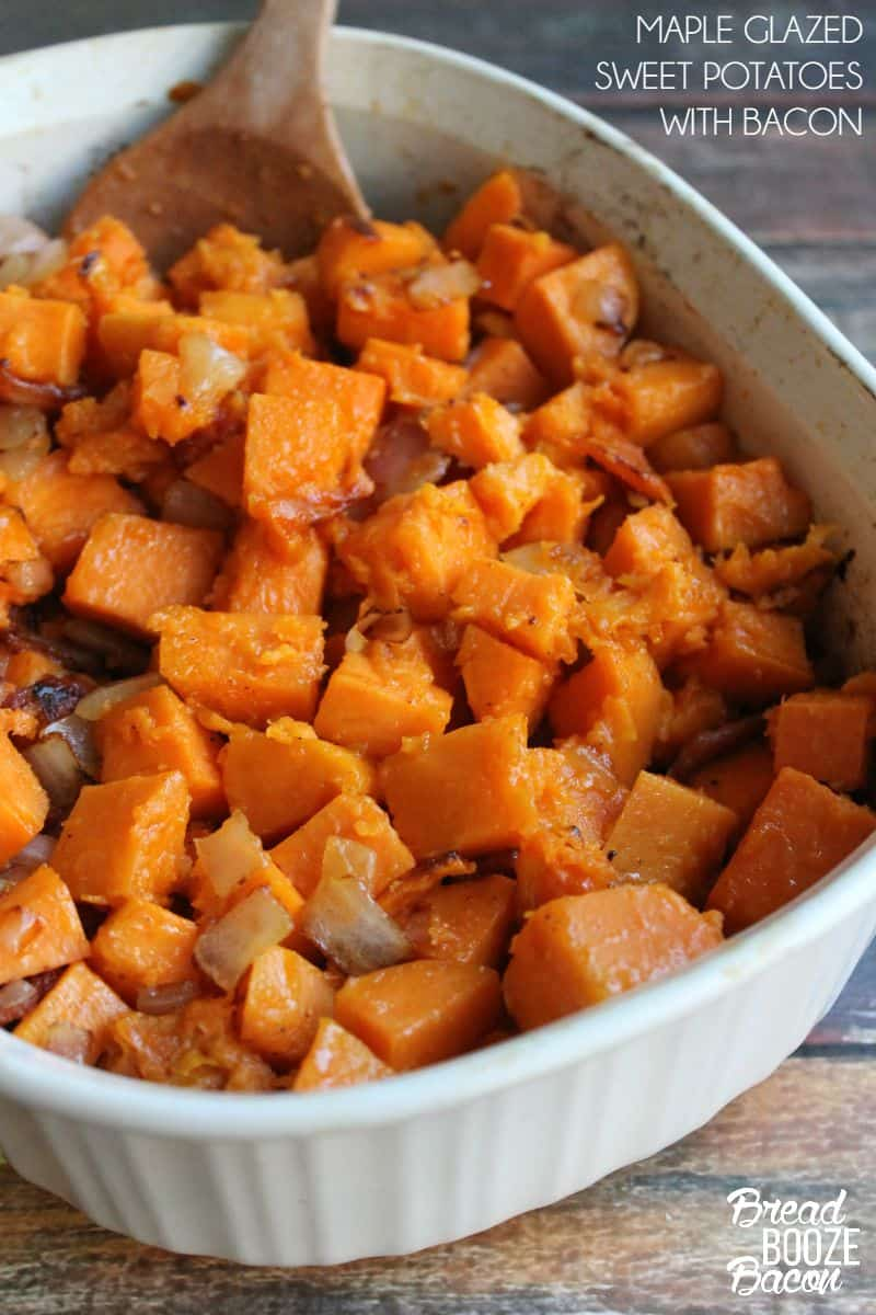 Maple Glazed Sweet Potatoes with Bacon are a salty, sweet fall side ...