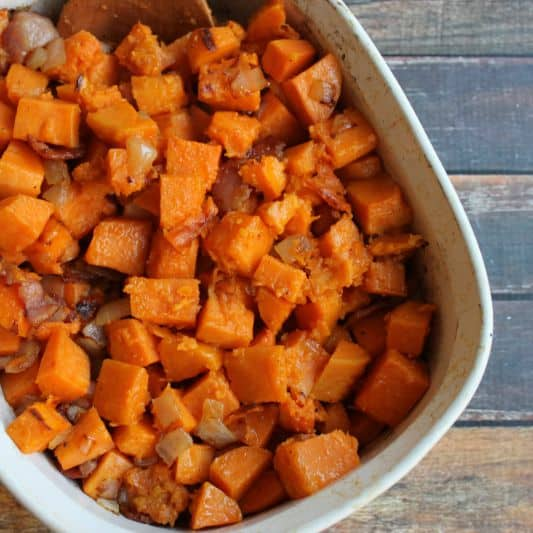 Maple Glazed Sweet Potatoes with Bacon