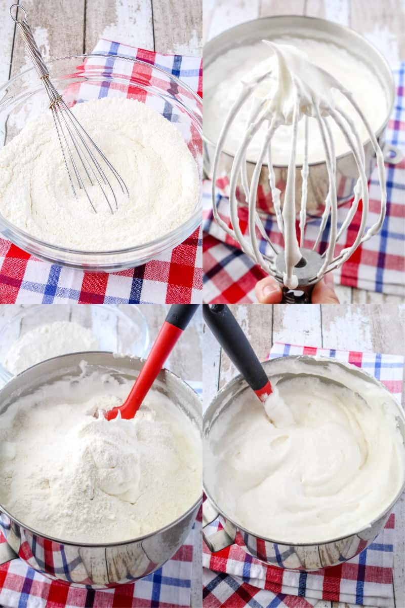flour mixture in a glass mixing bowl with a whisk, stand mixer balloon whisk with egg white mixture showing medium peaks, egg white mixture in stand mixer bowl with flour mixture sprinkled over top, rubber spatula in a bowl of angel food cake batter