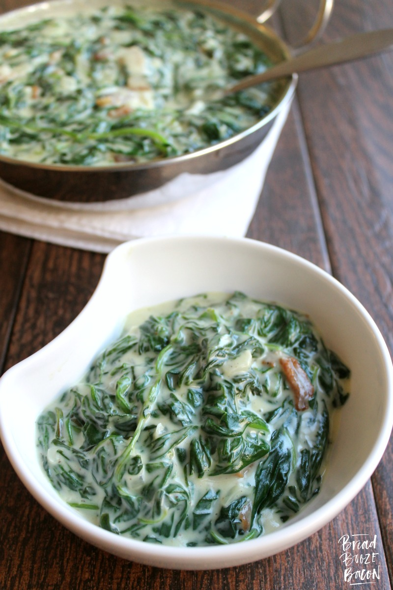 Creamed Spinach with Bacon - Bread Booze Bacon
