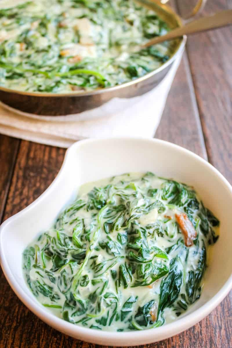 serving of creamed spinach in a small bowl