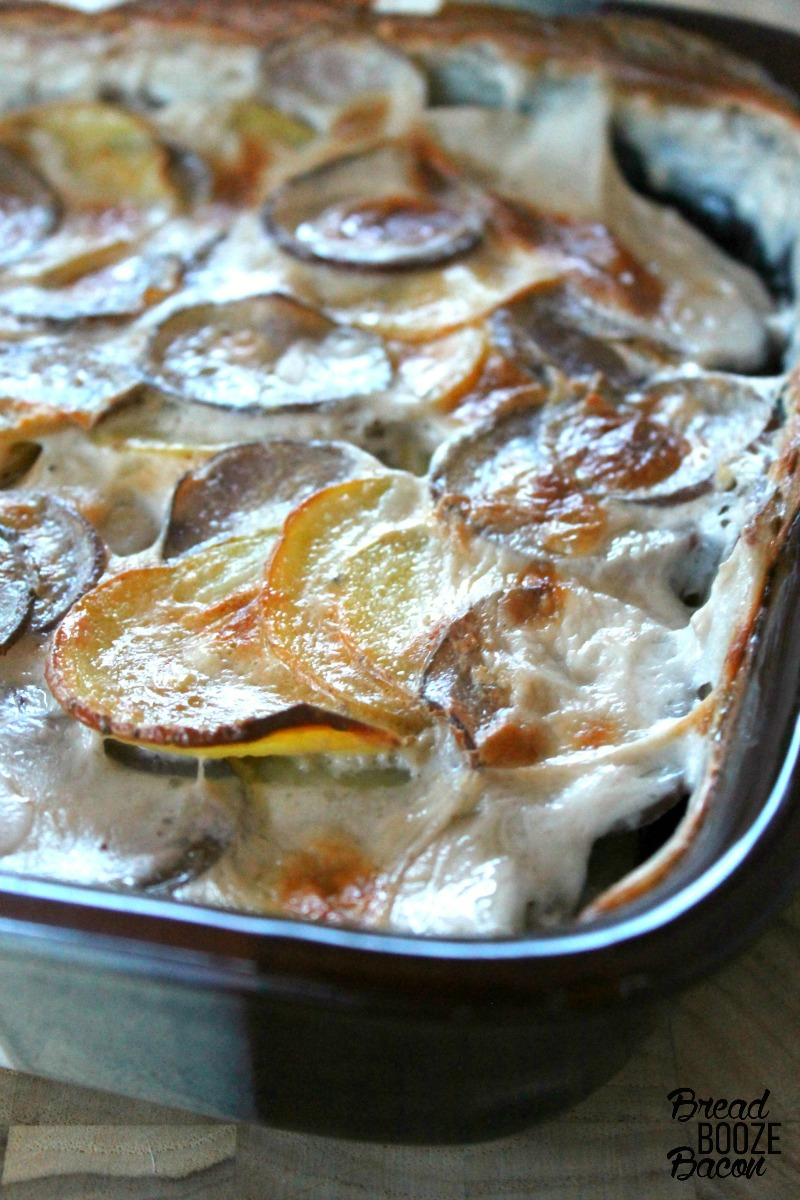 Two-Tone Scalloped Potatoes gives new life to a holiday table classic. Everyone will be begging for seconds!