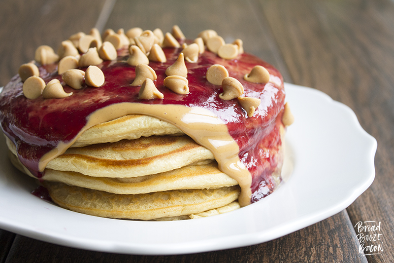 Peanut Butter & Jelly Pancakes are a delicious breakfast treat that'l...