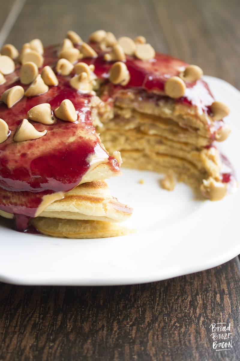 Peanut butter jelly pancakes bread booze bacon peanut butter jelly pancakes are a delicious breakfast treat thatll turn anyone into ccuart Images