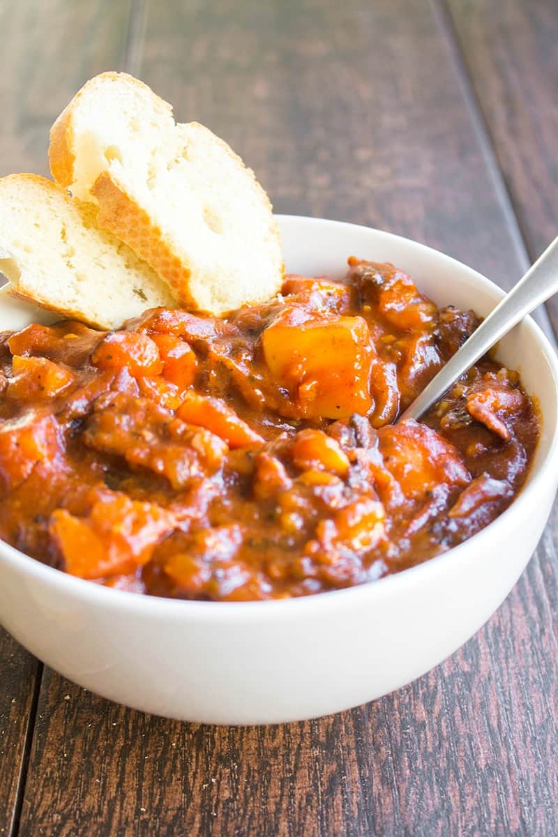 Tomato Beef Stew is an easy weeknight spin on a classic stew that's full of flavor! This semi-homemade recipe is total comfort food and will make your house smell amazing!