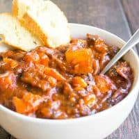Tomato Beef Stew is an easy weeknight spin on a classic stewthat's full of flavor! This semi-homemade recipeis total comfort food and will make your house smell amazing!