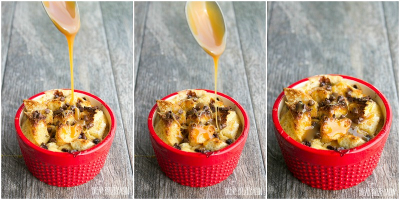 Caramel Chocolate Chip Bread Pudding for Two are little cups of deliciousness perfect for a date night in or when you don't want an entire cake staring you down...begging to be eaten!