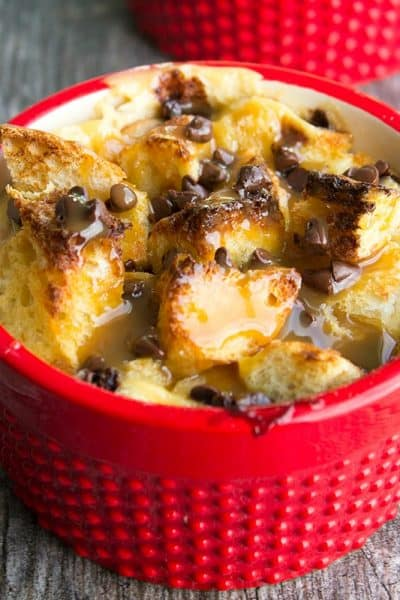Caramel Chocolate Chip Bread Pudding for Two