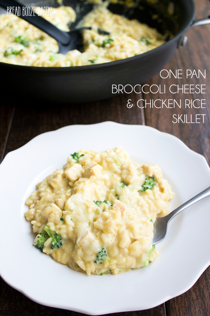 One Pan Broccoli Cheese & Chicken Rice Skillet is one of my favorite comfort foods! Easy to make, oh so cheesy & sure to warm the soul.