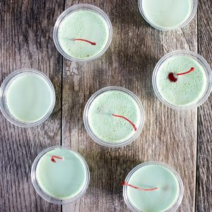 Irish Eyes Creme de Menthe Jello Shots are a delicious cocktail turned party favorite that's perfect for everything from St. Patrick's Day to Christmas!