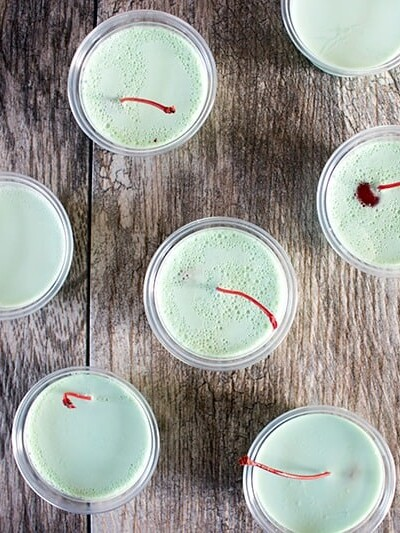 Irish Eyes Creme de Menthe Jello Shots