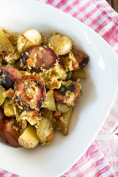 I love an easy & flavorful one-dish breakfast on the weekend, like this Kielbasa & Potato Scramble!