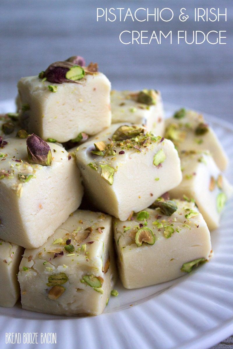 This fudge is a mixture of my two favorite things…booze and chocolate! I love how the flavors of the Irish Cream comes through in this Pistachio & Irish Cream Fudge!